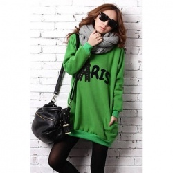 $12.85 Casual Style Loose-Fitting Letter Printed Long Sleeve Cotton Blend Long Hoodie For Women