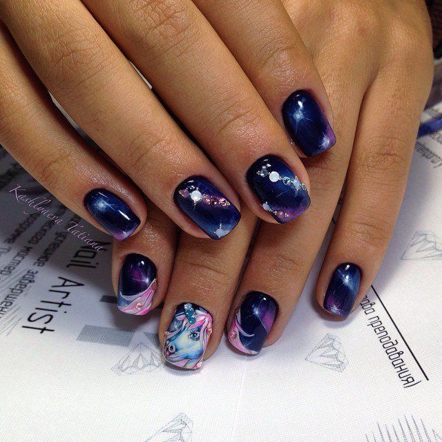 Beautiful kid nails, Cartoon nails, Dark blue nails, Fairy nails, Galaxy nails, Kid nails with pattern, Magic nails, Nails with animals