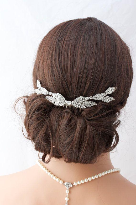Wedding Comb Bridal Hair Accessory Crystal Leaf Back Comb Rhinestone Leaves Veil Slide Back Hair Clip ELOISE