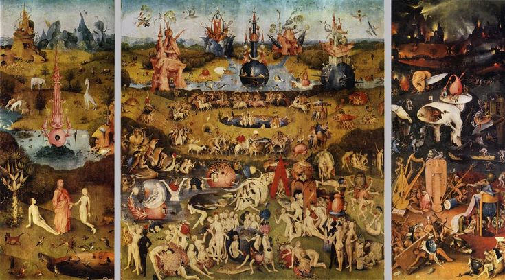 bosch full paintings | Triptych of Garden of Earthly Delights by Hieronymus Bosch