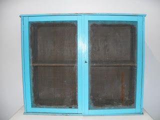 decoración vintage, antiguitats-baraturantic: Antiguo Armario Fresquera Azul