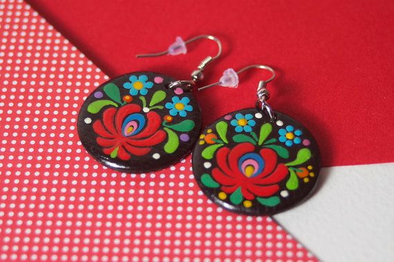 Handpainted, Hanging Wooden Earrings with Hungarian Matyó Embroidery Ornament