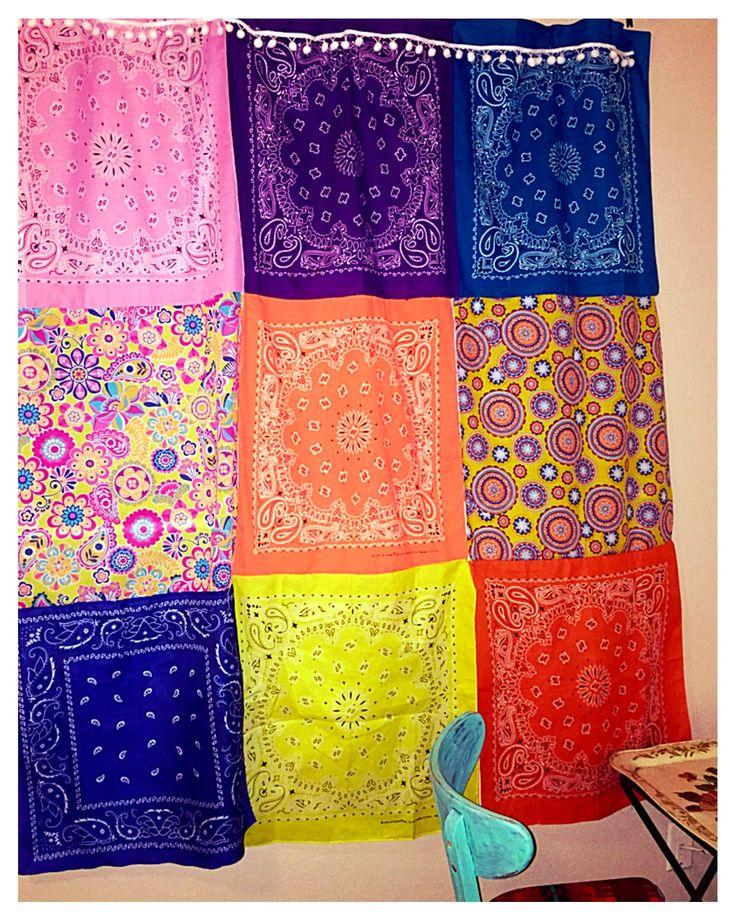 Bohemian bandana curtain handmade