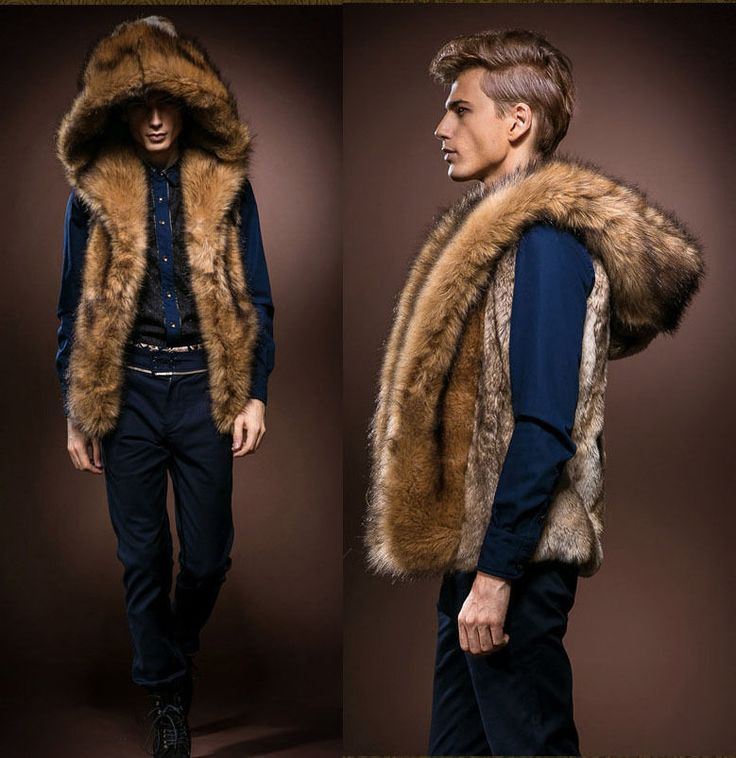 New Men's Faux Rabbit Fur Hooded Coat Jacket Winter  Warm Gilet Vest Waistcoat #mengmengbest #Vest