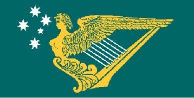 Irish-Australia Flag – featuring the Southern Cross & Harp  IRISH AUSTRALIA by Merle O'Donnell