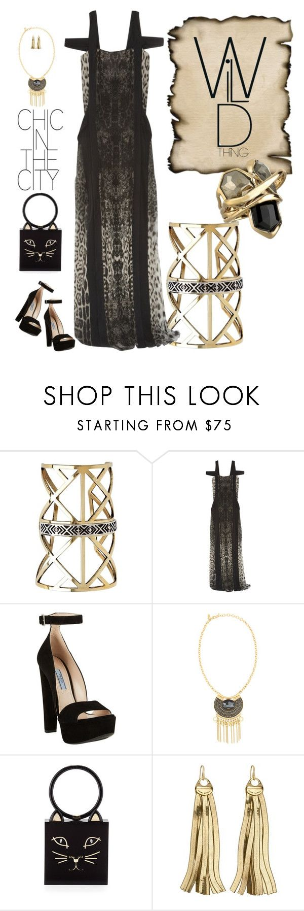 """Fantasy tag sale - getting ready for spring!"" by riquee ❤ liked on Polyvore featuring Pamela Love, Roberto Cavalli, Prada, Emily & Ashley, Charlotte Olympia, Henri Bendel and Alexis Bittar"