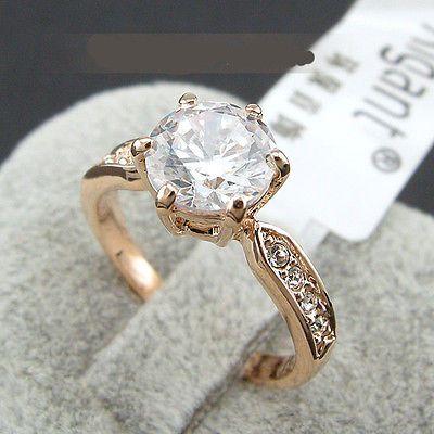 Edel Luxus Damen Ring Rose Gold 18K pl. Kristall Verlobungsring Geschenkidee !