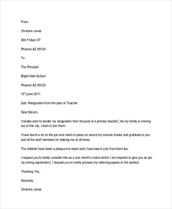 The 25 best Resignation template ideas – Sample of Basic Resignation Letter