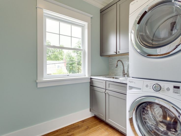 Traditional Laundry Room with Undermount sink, Hardwood floors, Built ...
