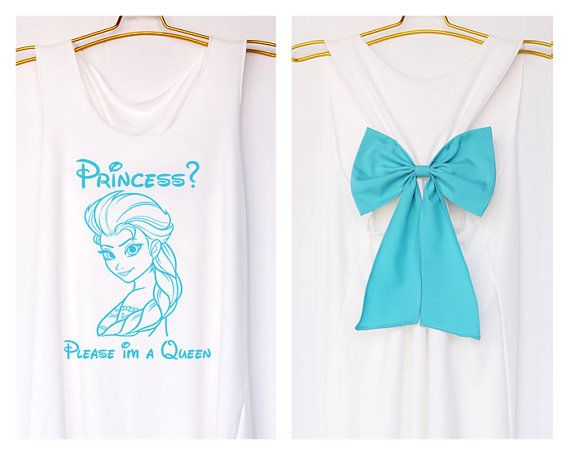 Princess Please i'm a queen Elsa Frozen Disney with Bow : Bride Shirt - Bridesmaid Shirt - Wedding Shirts - Tank Top - Bride team - Tank