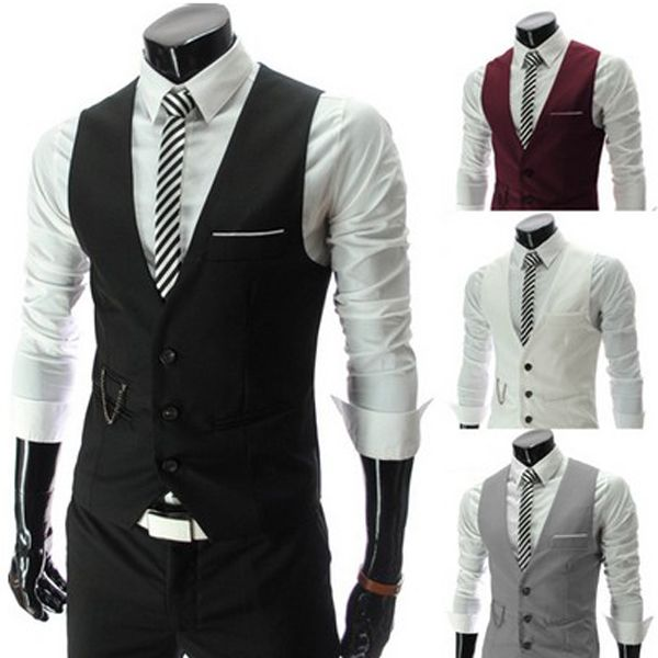 Men's Fashion Korean Version Suiting Sportsman Slim V-neck Vest