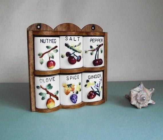 Vintage Kitchen Spice Rack with Fruit Design  by JodysVintage, $15.00