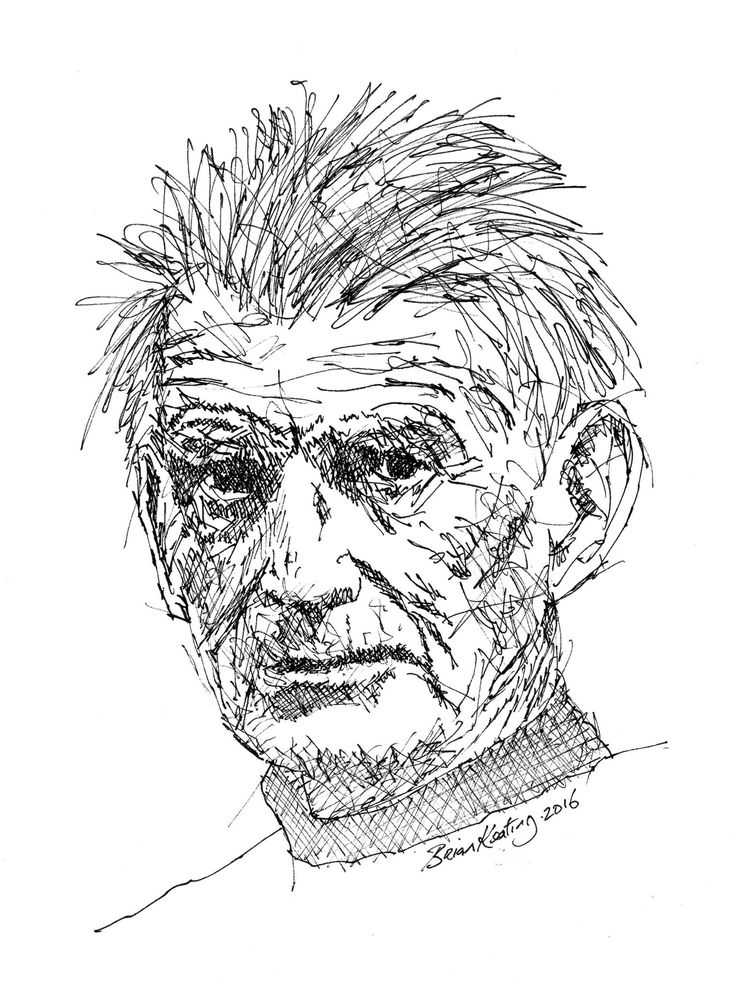 FINEARTSEEN - View Samuel Beckett by Brian Keating. An original black and white ink drawing of a portrait. Available on FineArtSeen - The Home Of Original Art. Enjoy Free Delivery with every order. >