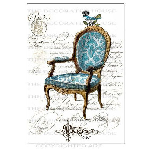 French Chair Art Print. Blue. French Script. Paris. Vintage Style Art Print 11 x 14 inches. Handmade by  The Decorated House