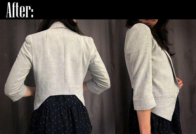 turn regular blazer into a more tailored tuxedo sytle blazer...excellent tutorial
