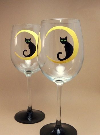 Hand painted wine cat wine glasses