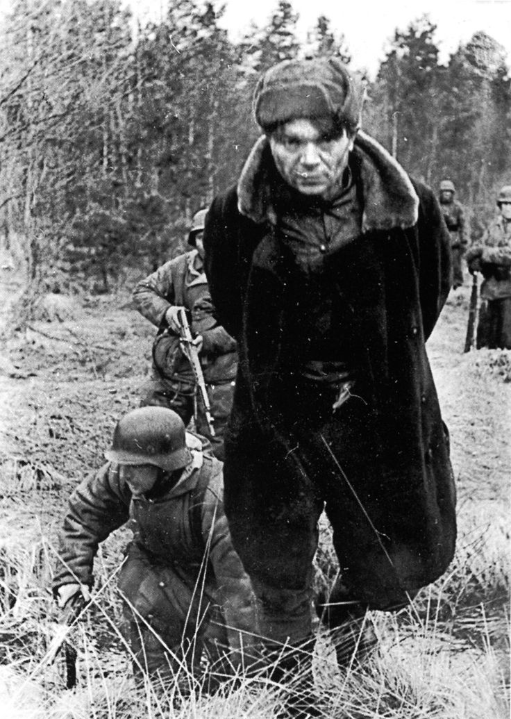 Soviet partisan arrested by the Germans, 1944. Standing orders provided that all partisans were to be executed without trial.