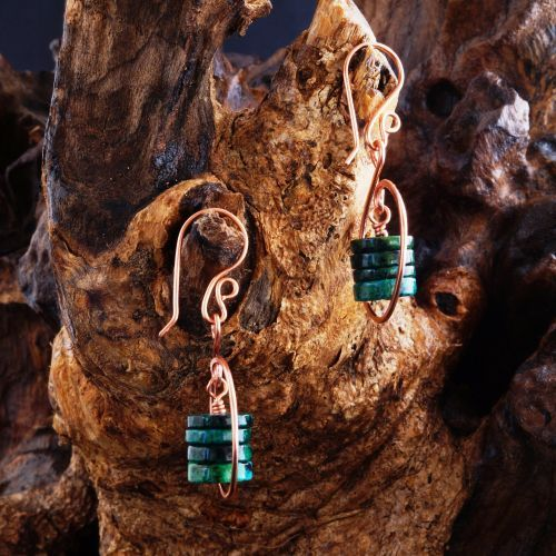 Encircled Chrysocolla Earrings  #Handmade Circular #Copper wire wrapped #Chrysocolla Hammered Dangle Earrings  Finished with handmade copper ear wires