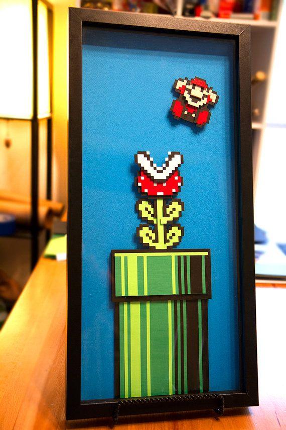 8 bit Piranha Plant et Mario - Super Mario 3 - 3D handcut papercraft dans shadowbox