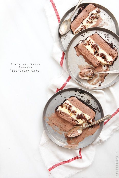Black and White Brownie Ice Cream Cake - For sure to make with Duncan Hines Brownies and Publix Ice Cream!