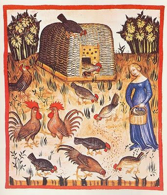 Medieval Woman Feeding the Chickens