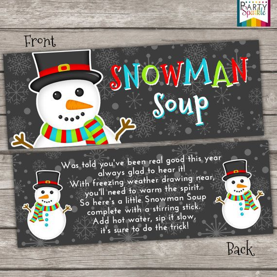 INSTANT DOWNLOAD - Snowman Soup Treat Bag Toppers Holiday Favor Labels - Christmas Party Digital pdf file    ★★★★★★★★★★★★★★★★★★★★★★★★★★    This