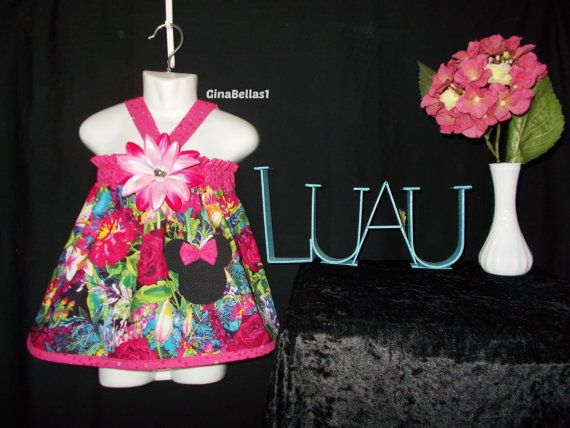 Minnie Mouse luau Birthday pool party dress hula by GinaBellas1, $45.50