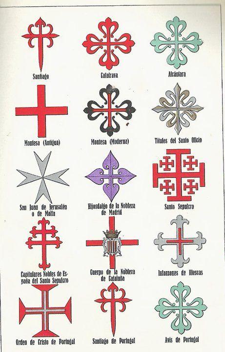 Cruces de distintas órdenes de caballería