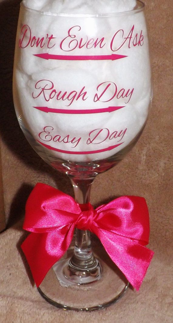 1 Personalized wine glasses.easy day, rough day or don't even ask. Hot Pink, Pink on Etsy, $11.00