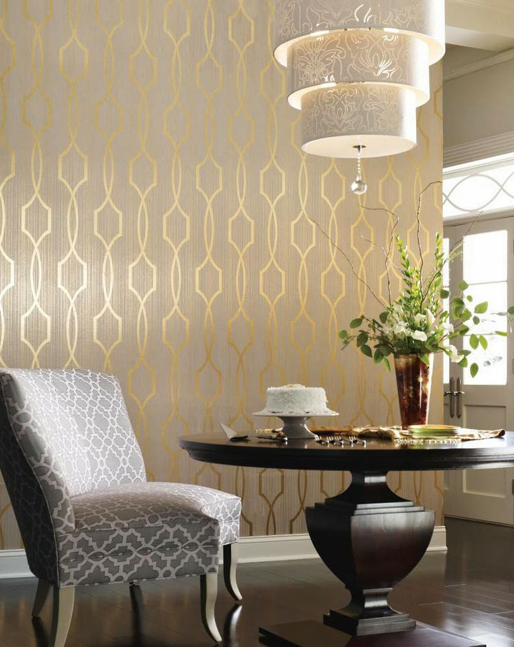Palladian, a gold lattice wallpaper, is a very chic pattern from Candice Olson new Modern Luxe collection.