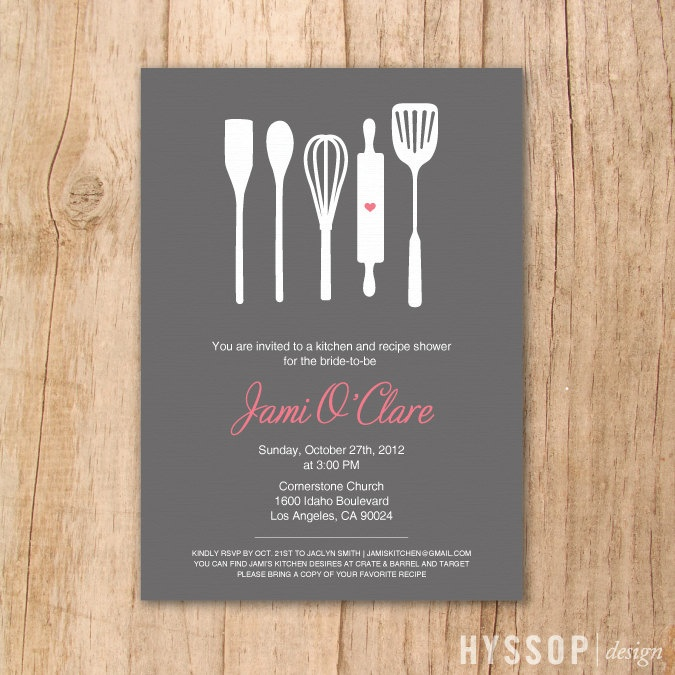 Printable/DIY - Modern Cooking Utensils Bridal Shower Invitation (Charcoal and Pink). $30.00, via Etsy.