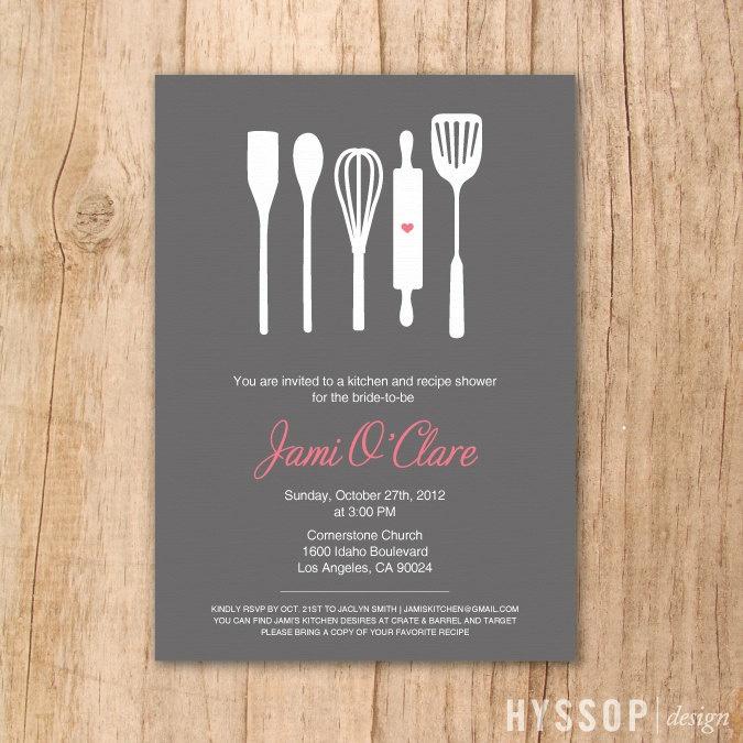 Printable/DIY - Modern Cooking Utensils Bridal Shower Invitation (Charcoal and Pink). $30.00, via Etsy.