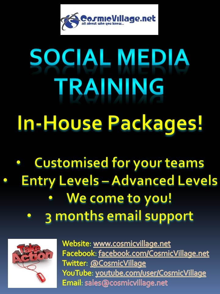 Social Media Training - In House!    We also provide a customised training schedule for your business, that is tailored 100% to your needs. Want to learn about Social Strategy, ROI and LinkedIn Basics? You got it! We come to you! Minimum requirement: 10 attendees. Full day of training (6 hours + breaks). Cost: $150 per person. See more: http://bit.ly/zdyn7s