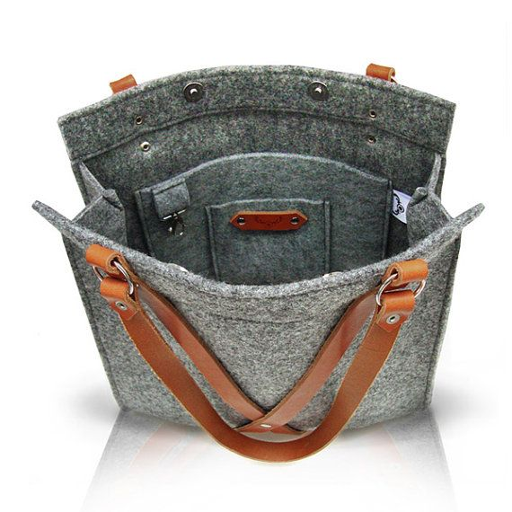 Grey Felt Bag With Leather Handle  FOX BAG by MOOSEdesignBAGS on Etsy, $126.70