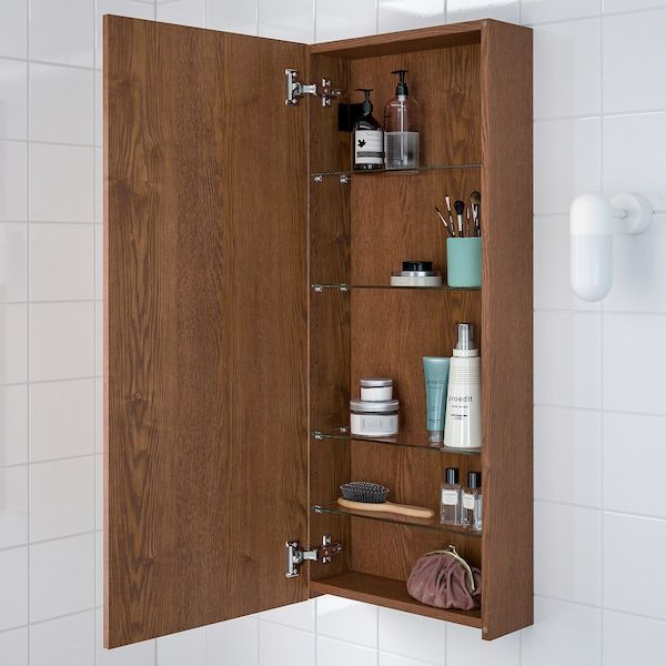 Godmorgon Wall Cabinet With 1 Door Brown Stained Ash Effect 15 3 4x5 1 2x37 3 4 40x14x96 Cm Wall Cabinet Ikea Godmorgon Ikea