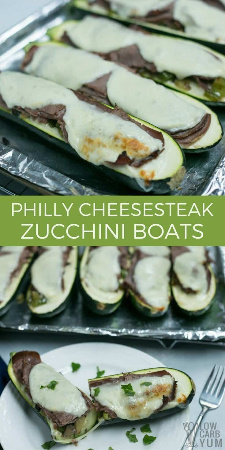 An easy recipe Philly steak with cheese zucchini boats that whips up in no time! It's just one of the simple low carb meals in 30 Dinners in 30 Minutes! | LowCarbYum.com via @lowcarbyum