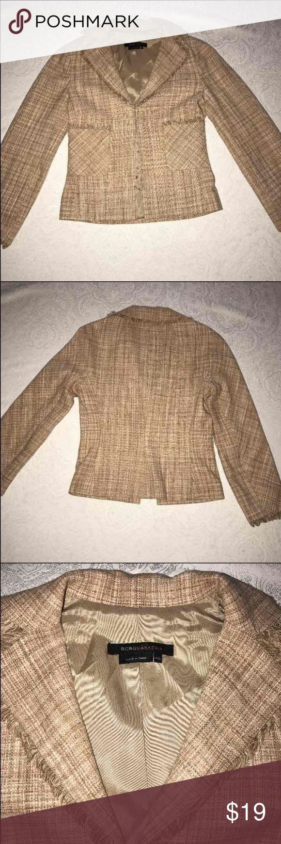 BCBG Max Azria Pink/Tan Silk Blazer The fabric is light pink and tan tweed 100% silk. In good condition. In size XXS. BCBGMaxAzria Jackets & Coats Blazers