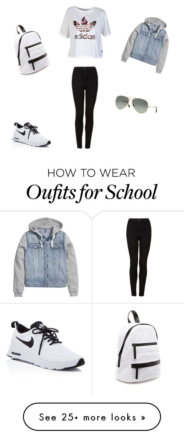 """Back to School"" by aristar04 on Polyvore featuring Topshop, adidas, NIKE, Forever 21 and Ray-Ban"