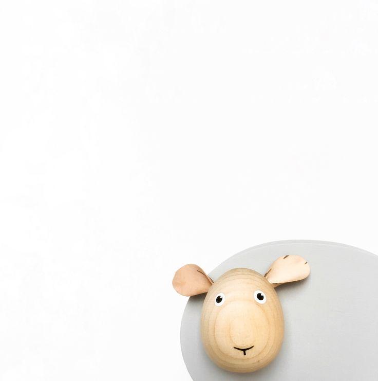 Wooden toy. Sheep. Scandinavian decoration