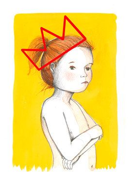 Ginger girl with crown on yellow by Thecatandthebox on Etsy