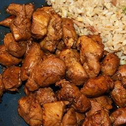 """Food Court Style Bourbon Chicken: """"It's wonderfully sweet & spicy without being too hot."""" Great for Superbowl Sunday or as an appetizer bite."""