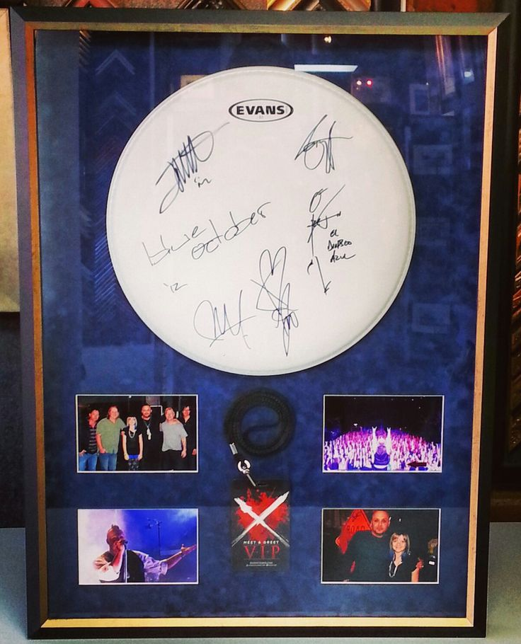 blue october drum head backstage pass and photos in a custom framed shadowbox using suede. Black Bedroom Furniture Sets. Home Design Ideas