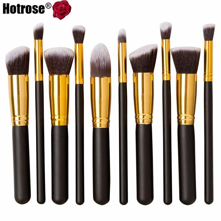 Hotrose Pro 10 pçs/set Necessaries Makeup Brushes cosméticos escova Foundation pó ferramentas multifuncionais preto - ouro de natal alishoppbrasil