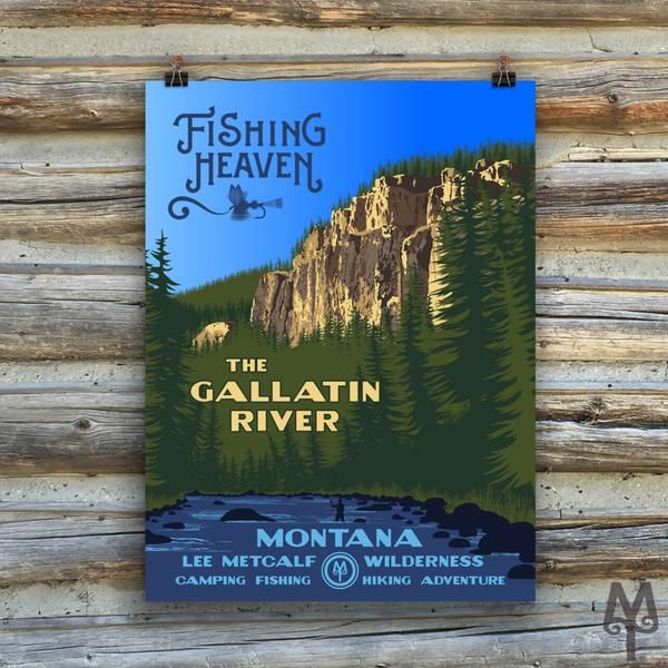 A contemporary poster in the WPA style that commemorates Montana's Gallatin River and Fishing Heaven.   Each poster measures 18 inches by 24 inches; is made on thick, durable, matte, archival, acid-free paper.   Designed in Montana. Printed in the USA.