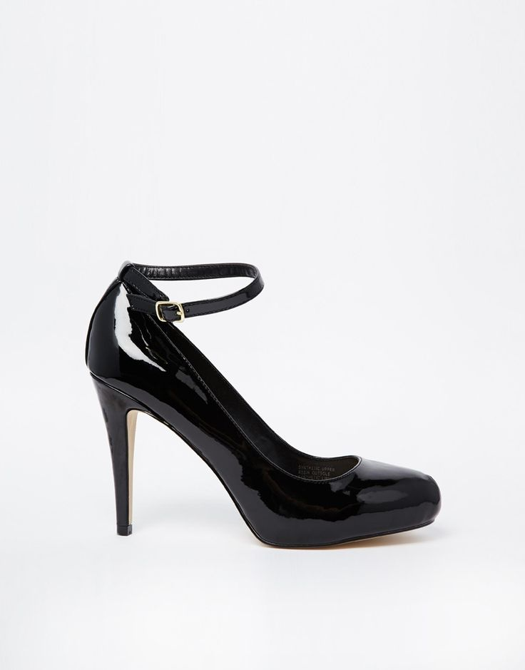 I need black pumps, these are perfect! Carvela +Kieron+Patent+Round+Toe+Heeled+Court+Shoes+with+Ankle+Strap