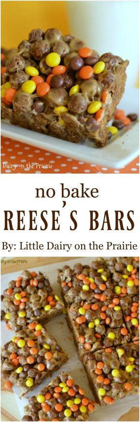 No-Bake Reese's Bars | This is basically a crispy treat that is loaded with chocolate and peanut butter! It's a winner!