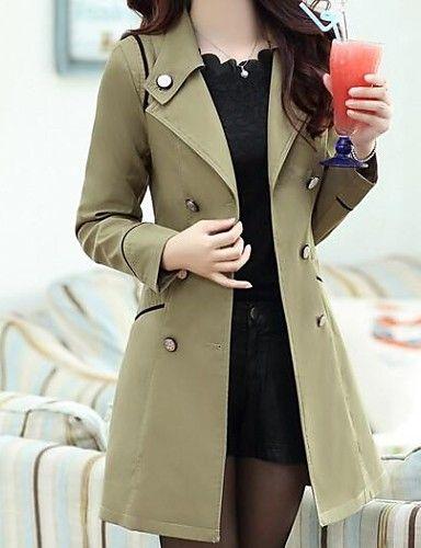 Trench Femme,Couleur Pleine Grandes Tailles Manches Longues Rose Noir Marron Vert Jaune Polyester Moyen Printemps Automne Hiver