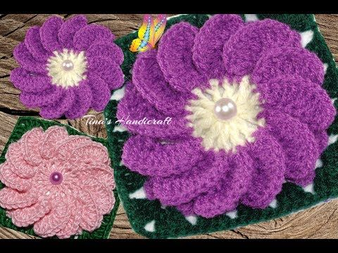 motif square with daisy No 32