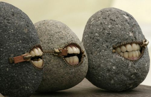 creepy rocks with zipper mouths & human teeth ...