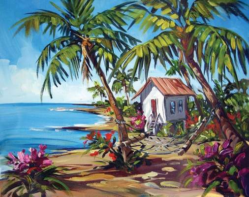 """painter Steve Barton - bright colors and it's in a """"wavy"""" frame to enhance the sense of movement in the painting"""